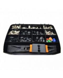 KIT2BNC Kit pinza+spelacavi+ 50 connettori BNC a compressione
